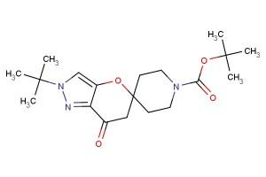 tert-butyl 2'-tert-butyl-7'-oxo-6',7'-dihydro-2'H-spiro[piperidine-4,5'-pyrano[3,2-c]pyrazole]-1-carboxylate
