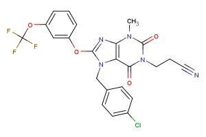 3-(7-(4-chlorobenzyl)-3-methyl-2,6-dioxo-8-(3-(trifluoromethoxy)phenoxy)-2,3,6,7-tetrahydro-1H-purin-1-yl)propanenitrile
