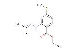 ethyl 2-(methylthio)-4-(2-(propan-2-ylidene)hydrazinyl)pyrimidine-5-carboxylate