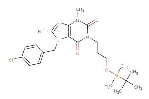 8-bromo-1-(3-((tert-butyldimethylsilyl)oxy)propyl)-7-(4-chlorobenzyl)-3-methyl-3,7-dihydro-1H-purine-2,6-dione